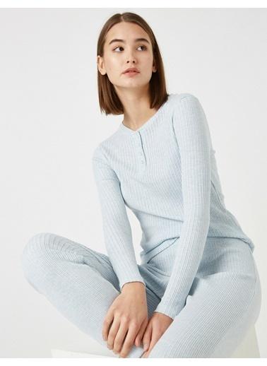 Koton Pamuklu Uzun Kollu Pijama Üstü Mavi